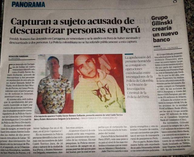Capturan a venezolano que ordenó descuartizamiento en Perú 39