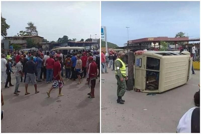 Manifestantes apedrearon unidad de la GNB durante protesta por escasez de gasolina (Video) 26