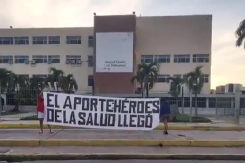 """Desplegaron pancartas para informar que el aporte Héroes de la Salud """"Ya llegó"""" (video) 3"""