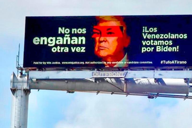 Imagen de Donald Trump con los ojos de Chávez aparece en valla electoral en Miami 1