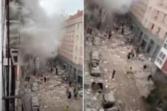 Reportan al menos 3 fallecidos por la fuerte explosión de un edificio en Madrid (Video)