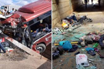 """Tres fallecidos y varios heridos en aparatoso accidente de autobús """"rojito"""" en Anzoátegui: se estrelló contra una barrera de concreto (Fotos) 1"""
