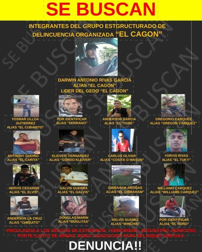 GNB emite comunicado en búsqueda de integrantes de la banda delictiva «El Cagón» 1